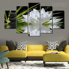 Lotus White Flowers Painting - 5 Piece Canvas