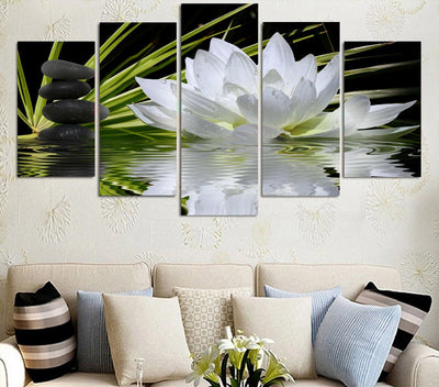 Lotus White Flowers Painting - 5 Piece Canvas-Canvas-TEEPEAT