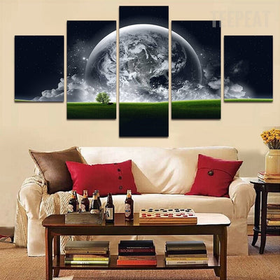 Green Earth Painting - 5 Piece Canvas-Canvas-TEEPEAT