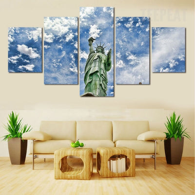Statue Of Liberty Before The Blue Clouds - 5 Piece Canvas Painting-Canvas-TEEPEAT