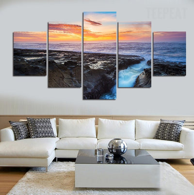 Rocks In The Sea Painting - 5 Piece Canvas-Canvas-TEEPEAT