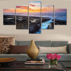 Rocks In The Sea Painting - 5 Piece Canvas