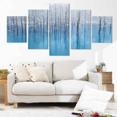 Winter Snow Scenery - 5 Piece Canvas Painting-Canvas-TEEPEAT