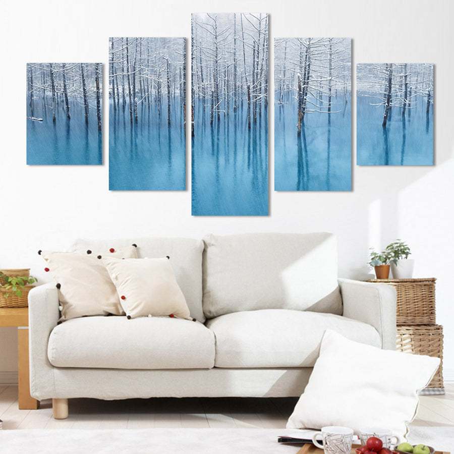 Winter Snow Scenery - 5 Piece Canvas Painting