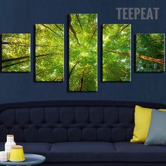 The Sunlight, Green Leaves And Branches In The Forest - 5 Piece Canvas
