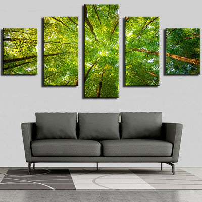 The Sunlight, Green Leaves And Branches In The Forest - 5 Piece Canvas-Canvas-TEEPEAT