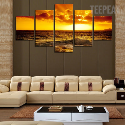 The Setting Sun In The Ocean Seascape - 5 Piece Canvas Painting-Canvas-TEEPEAT
