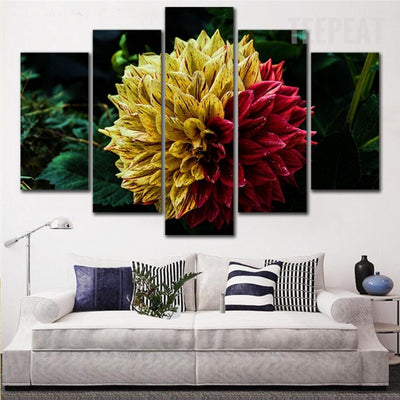 Yellow And Red Flower - 5 Piece Canvas Painting-Canvas-TEEPEAT