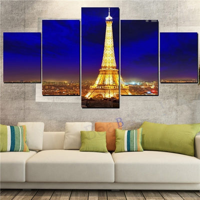 Stunning Eiffel Tower Landscape- 5 Piece Canvas Painting-Canvas-TEEPEAT