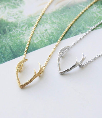 Stag Antlers Patronus Gold or Silver Plated Necklace