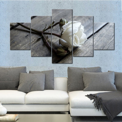 White Rose Painting - 5 Piece Canvas-Canvas-TEEPEAT