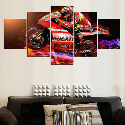 Modern Cool Motorcycle - 5 Piece Canvas Painting-Canvas-TEEPEAT