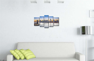 New York City Over East River Brooklyn Bridge - 5 Piece Canvas-Canvas-TEEPEAT