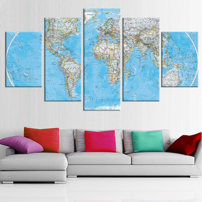 Map Of The World Painting - 5 Piece Canvas-Canvas-TEEPEAT
