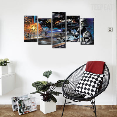 Star Wars Battlefield Painting - 5 Piece Canvas-Canvas-TEEPEAT