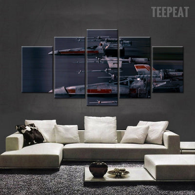 Star Wars: X-Wing Fighter Painting - 5 Piece Canvas-Canvas-TEEPEAT
