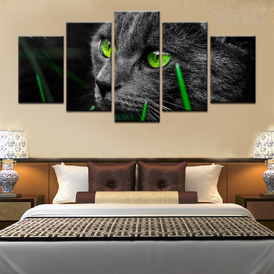Side View Black Cat And The Green Grass - 5 Piece Canvas Painting-Canvas-TEEPEAT