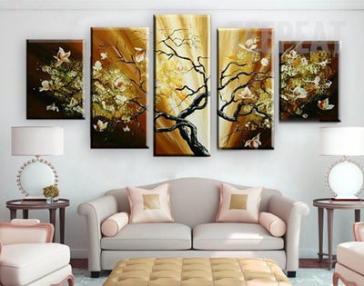 Golden Flower Palette - 5 Piece Canvas Painting-Canvas-TEEPEAT