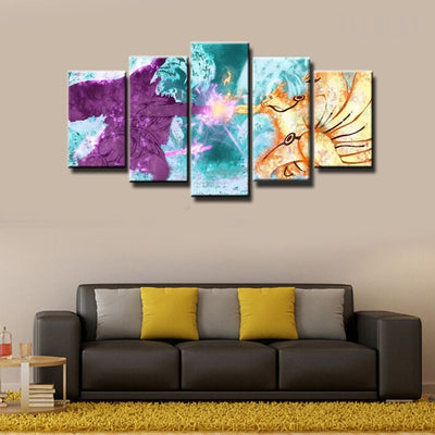 Naruto Shipuden in Battle- 5 Piece Canvas Painting-Canvas-TEEPEAT
