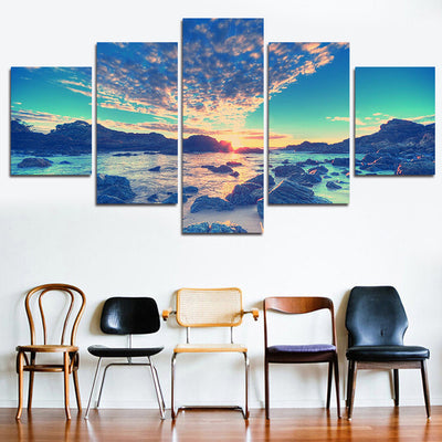 Rocks, Clouds, Sunset, And Seascape - 5 Piece Canvas Painting-Canvas-TEEPEAT