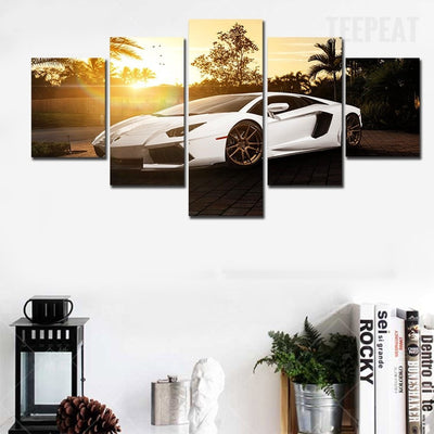 White Supercar Before The Rising Sun - 5 Piece Canvas Painting-Canvas-TEEPEAT