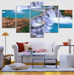 The Blue Waterfall With Lake And Rocks - 5 Piece Canvas