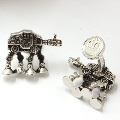 Free Shipping Star Wars All Terrain Armored Transport Model Silver Cuff Links For Men And Women Of The Present Movie Jewelry-TEEPEAT