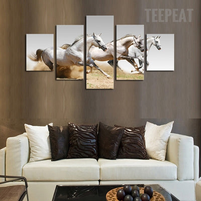 Running White Horses Cuadros - 5 Piece Canvas Painting-Canvas-TEEPEAT