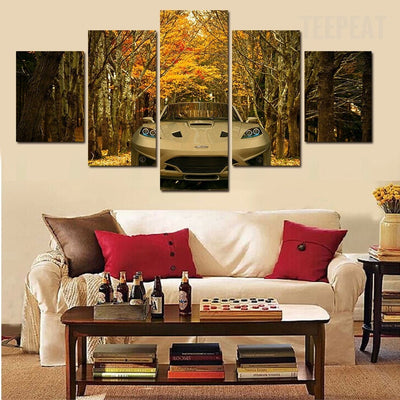 Stunning Car Before The Trees - 5 Piece Canvas Painting-Canvas-TEEPEAT