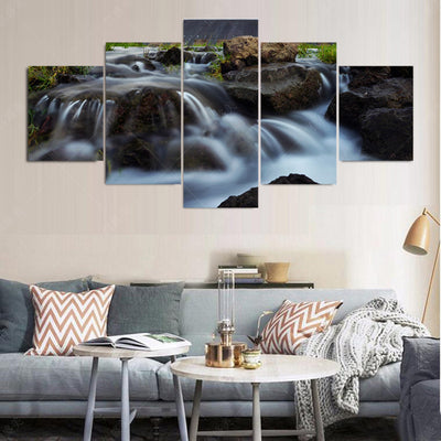 Flowing River And Big Rocks - 5 Piece Canvas Painting-Canvas-TEEPEAT