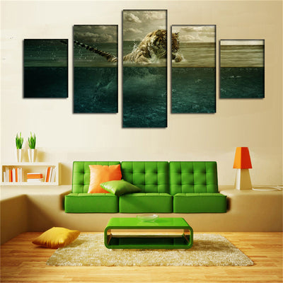 Tiger Over The Sea Painting - 5 Piece Canvas-Canvas-TEEPEAT