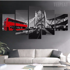 Red Bus And The Bridge Wall - 5 Piece Canvas