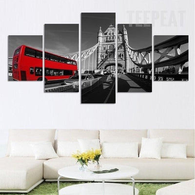 Red Bus And The Bridge Wall - 5 Piece Canvas-Canvas-TEEPEAT