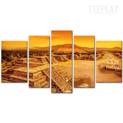 Ruins Of Aztec Civilization Architecture - 5 Piece Canvas-Canvas-TEEPEAT