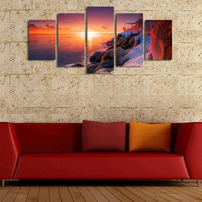 Snowy Coast Before The Sunset - 5 Piece Canvas Painting-Canvas-TEEPEAT