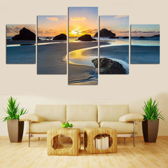 Sea View Sunset Painting - 5 Piece Canvas
