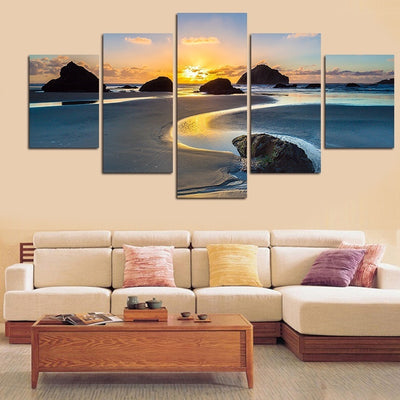Sea View Sunset Painting - 5 Piece Canvas-Canvas-TEEPEAT