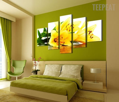 Yellow Lily Flowers - 5 Piece Canvas Painting-Canvas-TEEPEAT
