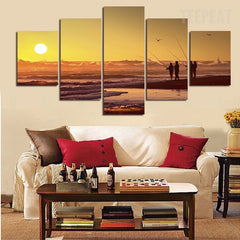 People Fishing Before The Sunset Seascape -  5 Piece Canvas