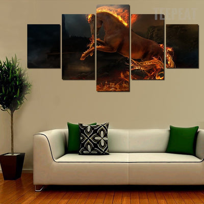 Horse On The Grass - 5 Piece Canvas Painting-Canvas-TEEPEAT