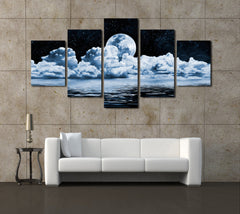 Full Moon Scenery - 5 Piece Canvas