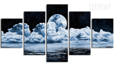 Full Moon Scenery - 5 Piece Canvas-Canvas-TEEPEAT