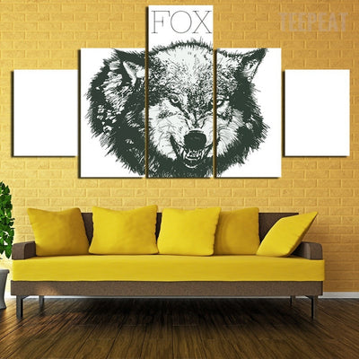 Mighty Wolf Painting - 5 Piece Canvas-Canvas-TEEPEAT