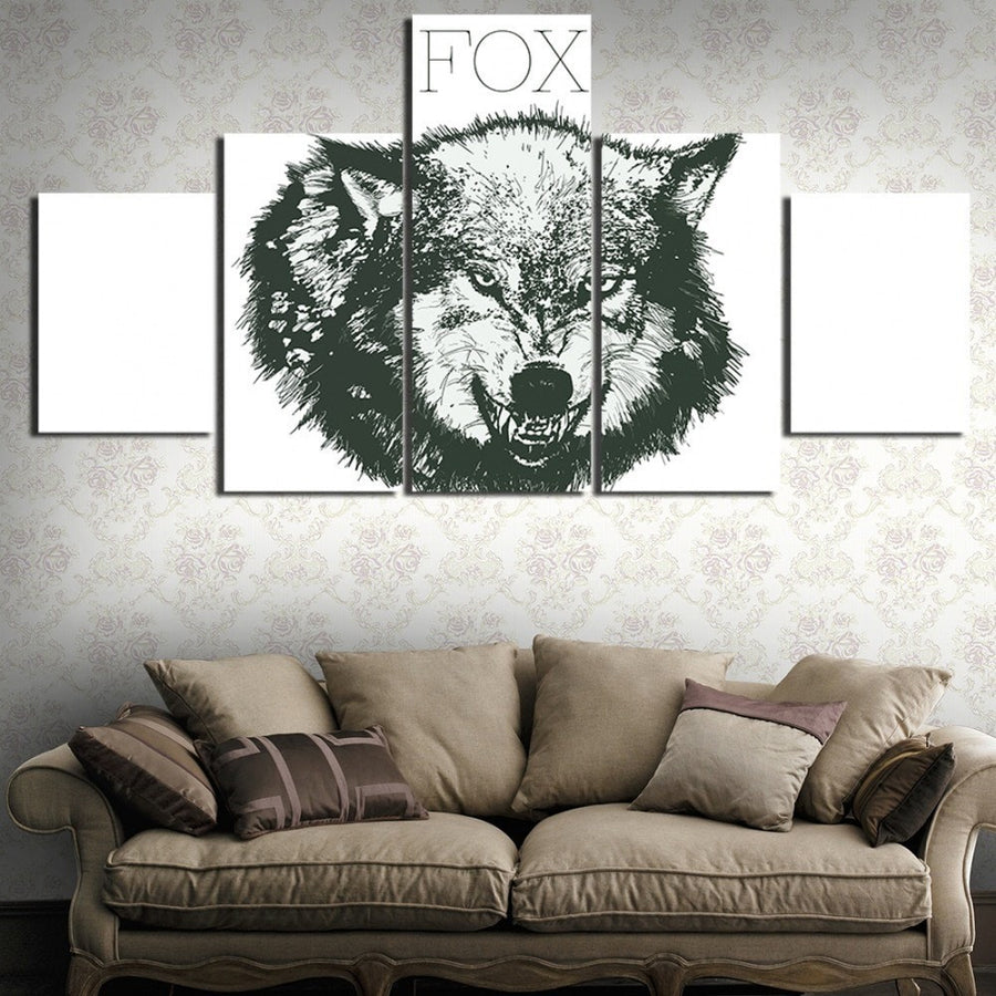 Mighty Wolf Painting - 5 Piece Canvas