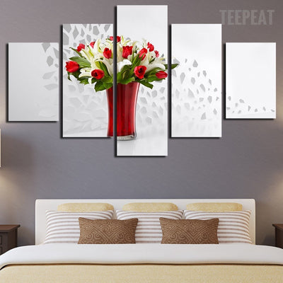 Red And White Roses Vase - 5 Piece Canvas Painting-Canvas-TEEPEAT