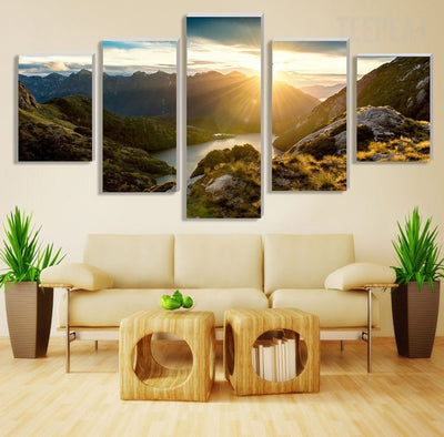 Mountain And River Before The Beautiful Sunrise - 5 Piece Canvas-Canvas-TEEPEAT