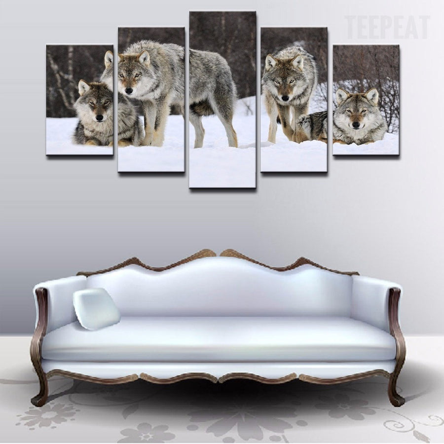 Wolf Pack On The Snow - 5 Piece Canvas