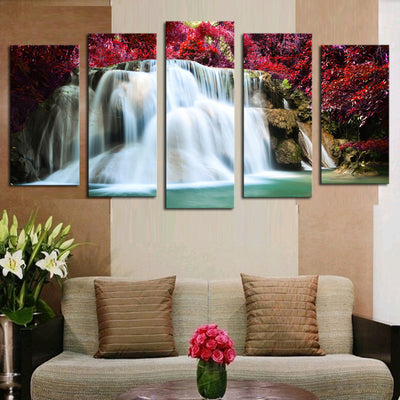Red Tree Waterfalls - 5 Piece Canvas Painting-Canvas-TEEPEAT