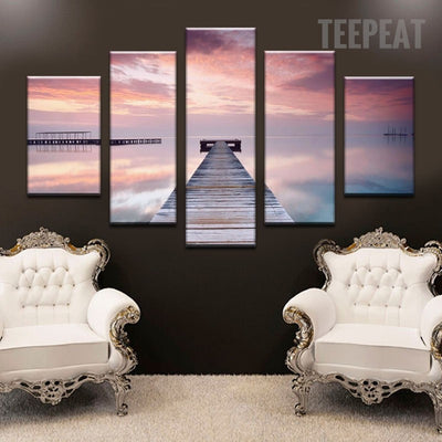 Red Glow Seaside Bridge - 5 Piece Canvas Painting-Canvas-TEEPEAT