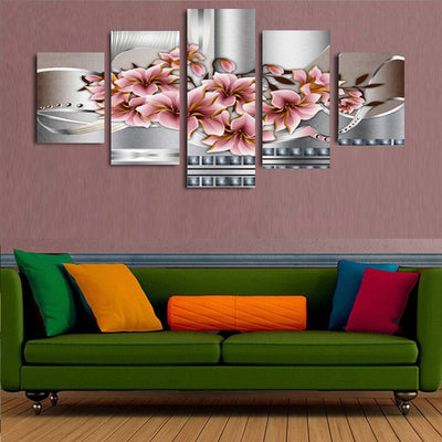Pink Magnolia Flowers - 5 Piece Canvas Painting-Canvas-TEEPEAT
